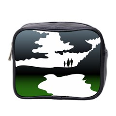 Landscape Silhouette Clipart Kid Abstract Family Natural Green White Mini Toiletries Bag 2 Side by Mariart