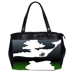 Landscape Silhouette Clipart Kid Abstract Family Natural Green White Office Handbags (2 Sides)  by Mariart