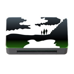 Landscape Silhouette Clipart Kid Abstract Family Natural Green White Memory Card Reader With Cf by Mariart