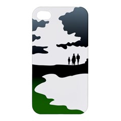Landscape Silhouette Clipart Kid Abstract Family Natural Green White Apple Iphone 4/4s Hardshell Case by Mariart