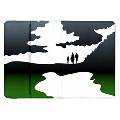 Landscape Silhouette Clipart Kid Abstract Family Natural Green White Samsung Galaxy Tab 8 9  P7300 Flip Case by Mariart