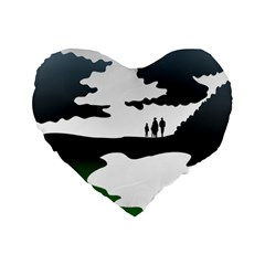 Landscape Silhouette Clipart Kid Abstract Family Natural Green White Standard 16  Premium Flano Heart Shape Cushions by Mariart