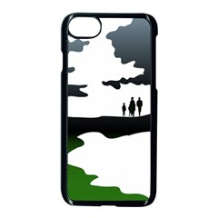 Landscape Silhouette Clipart Kid Abstract Family Natural Green White Apple Iphone 7 Seamless Case (black)