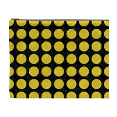 Circles1 Black Marble & Yellow Colored Pencil (r) Cosmetic Bag (xl) by trendistuff