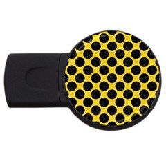 Circles2 Black Marble & Yellow Colored Pencil Usb Flash Drive Round (2 Gb) by trendistuff