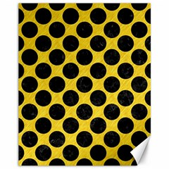 Circles2 Black Marble & Yellow Colored Pencil Canvas 11  X 14   by trendistuff