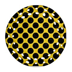 Circles2 Black Marble & Yellow Colored Pencil Ornament (round Filigree) by trendistuff
