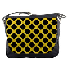 Circles2 Black Marble & Yellow Colored Pencil Messenger Bags by trendistuff
