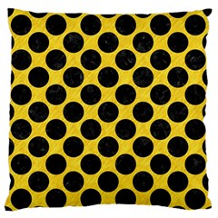 Circles2 Black Marble & Yellow Colored Pencil Standard Flano Cushion Case (two Sides) by trendistuff