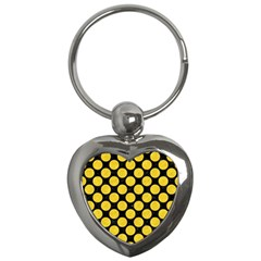 Circles2 Black Marble & Yellow Colored Pencil (r) Key Chains (heart)  by trendistuff