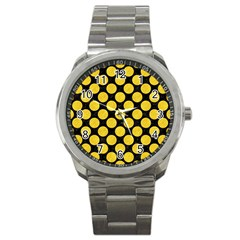 Circles2 Black Marble & Yellow Colored Pencil (r) Sport Metal Watch by trendistuff