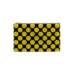 Circles2 Black Marble & Yellow Colored Pencil (r) Cosmetic Bag (small)  by trendistuff