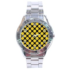 Circles2 Black Marble & Yellow Colored Pencil (r) Stainless Steel Analogue Watch by trendistuff