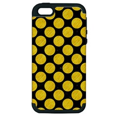 Circles2 Black Marble & Yellow Colored Pencil (r) Apple Iphone 5 Hardshell Case (pc+silicone) by trendistuff