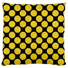 Circles2 Black Marble & Yellow Colored Pencil (r) Large Flano Cushion Case (two Sides) by trendistuff