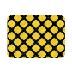 Circles2 Black Marble & Yellow Colored Pencil (r) Double Sided Flano Blanket (mini)  by trendistuff