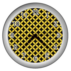 Circles3 Black Marble & Yellow Colored Pencil (r) Wall Clocks (silver)  by trendistuff