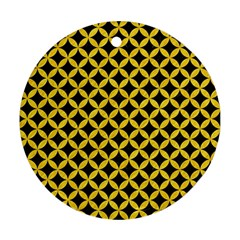 Circles3 Black Marble & Yellow Colored Pencil (r) Round Ornament (two Sides) by trendistuff