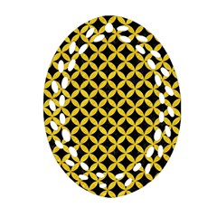 Circles3 Black Marble & Yellow Colored Pencil (r) Oval Filigree Ornament (two Sides) by trendistuff