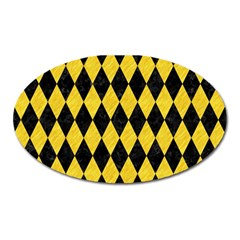 Diamond1 Black Marble & Yellow Colored Pencil Oval Magnet by trendistuff