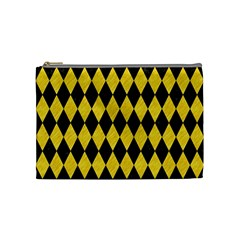 Diamond1 Black Marble & Yellow Colored Pencil Cosmetic Bag (medium)  by trendistuff
