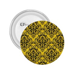 Damask1 Black Marble & Yellow Colored Pencil 2 25  Buttons by trendistuff