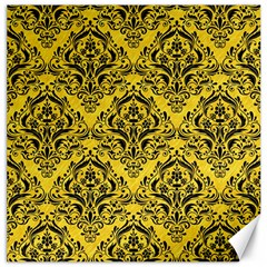 Damask1 Black Marble & Yellow Colored Pencil Canvas 16  X 16   by trendistuff