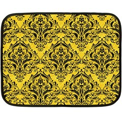 Damask1 Black Marble & Yellow Colored Pencil Fleece Blanket (mini) by trendistuff