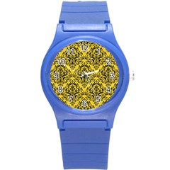 Damask1 Black Marble & Yellow Colored Pencil Round Plastic Sport Watch (s) by trendistuff