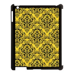 Damask1 Black Marble & Yellow Colored Pencil Apple Ipad 3/4 Case (black) by trendistuff
