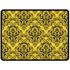 Damask1 Black Marble & Yellow Colored Pencil Double Sided Fleece Blanket (large)  by trendistuff
