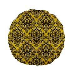 Damask1 Black Marble & Yellow Colored Pencil Standard 15  Premium Flano Round Cushions by trendistuff