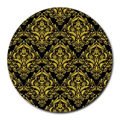 Damask1 Black Marble & Yellow Colored Pencil (r) Round Mousepads