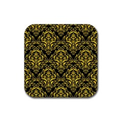 Damask1 Black Marble & Yellow Colored Pencil (r) Rubber Coaster (square)  by trendistuff