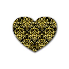 Damask1 Black Marble & Yellow Colored Pencil (r) Heart Coaster (4 Pack)  by trendistuff