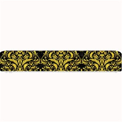 Damask1 Black Marble & Yellow Colored Pencil (r) Small Bar Mats
