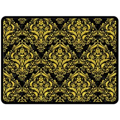 Damask1 Black Marble & Yellow Colored Pencil (r) Fleece Blanket (large)  by trendistuff