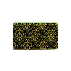 Damask1 Black Marble & Yellow Colored Pencil (r) Cosmetic Bag (xs) by trendistuff