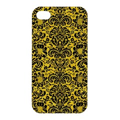 Damask2 Black Marble & Yellow Colored Pencil Apple Iphone 4/4s Hardshell Case by trendistuff