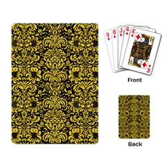 Damask2 Black Marble & Yellow Colored Pencil (r) Playing Card by trendistuff
