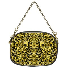 Damask2 Black Marble & Yellow Colored Pencil (r) Chain Purses (one Side)  by trendistuff