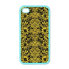 Damask2 Black Marble & Yellow Colored Pencil (r) Apple Iphone 4 Case (color)