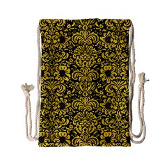 Damask2 Black Marble & Yellow Colored Pencil (r) Drawstring Bag (small) by trendistuff