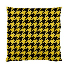 Houndstooth1 Black Marble & Yellow Colored Pencil Standard Cushion Case (one Side) by trendistuff