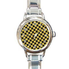Houndstooth2 Black Marble & Yellow Colored Pencil Round Italian Charm Watch by trendistuff