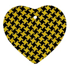 Houndstooth2 Black Marble & Yellow Colored Pencil Ornament (heart) by trendistuff