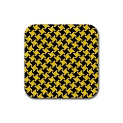Houndstooth2 Black Marble & Yellow Colored Pencil Rubber Square Coaster (4 Pack)  by trendistuff