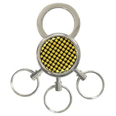 Houndstooth2 Black Marble & Yellow Colored Pencil 3 Ring Key Chains by trendistuff