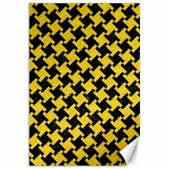 Houndstooth2 Black Marble & Yellow Colored Pencil Canvas 12  X 18   by trendistuff