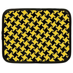 Houndstooth2 Black Marble & Yellow Colored Pencil Netbook Case (xl)  by trendistuff